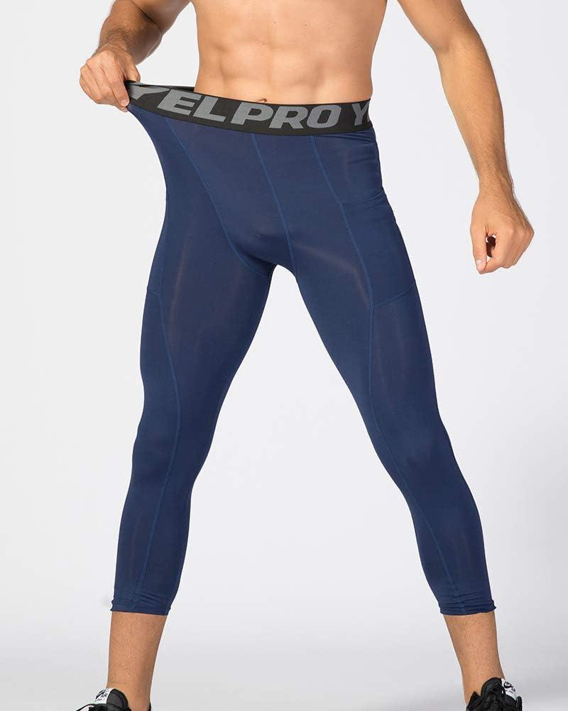 Shengwan 3//4 Workout Leggings Uomo Asciugatura Veloce Calzamaglia Pantaloni a Compressione Fitness con Tasche per Gym Jogging Correre