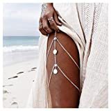 Chic Vintage Coin Multilayer Boho Thigh Leg Chain Bohemia Jewelry Accessory 1PC Color:Silver