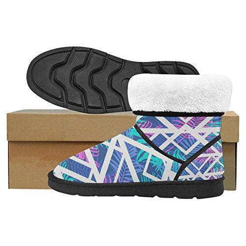 Snow Stivali Da Donna Di Interestprint Design Unico Comfort Invernale Stivali Tropicale Foglia Di Palma Neon Colorato Giungla Multi 1