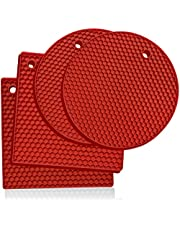 Silicone Trivet Mat Hot Pads: 4 Multi Purpose Pot Holders and Trivets - Heat Resistant Pot Holder Pad Set for Hot Dishes and Table - Kitchen Potholders for Jar Opener, Spoon Holder, Oven Mitts
