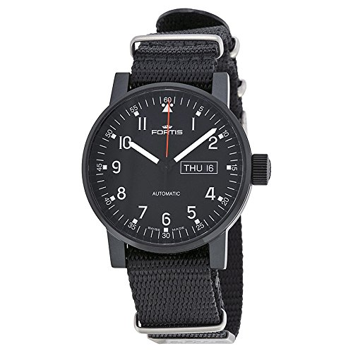 Fortis Spacematic Black Dial Black Canvas Strap Mens Watch 6231871N01