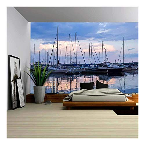 - wall26 - Docked Sailboats in Marina at Sunset - Removable Wall Mural | Self-Adhesive Large Wallpaper - 100x144 inches
