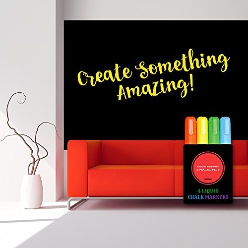 Premium Large Vinyl Chalkboard Decal. 1 (roll) Self Adhesive Contact Paper w/ 4 Dry Erase Chalk Markers. Best for Home Teaching, Kitchen Wall, Classroom Decor, Bistro Message and Office Presentation (1 Contact)