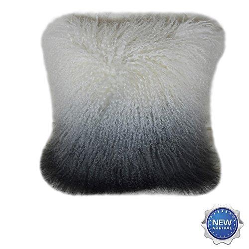 Lichao Ombre Mongolian Lamb Fur Pillow Cover Luxurious Sheep Skin Cushion Cover Soft Plush Curly...