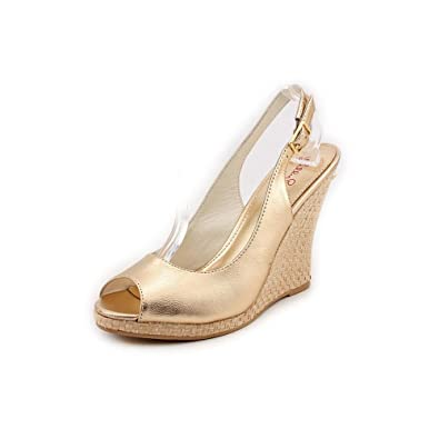84e2e84a7c6 Lilly Pulitzer Women s Kristin Wedge Gold Metallic 6 M ...