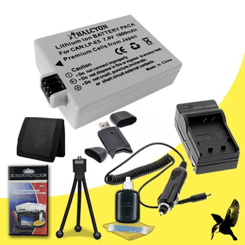 Halcyon 1800 mAH Lithium Ion Replacement LP-E5 Battery and Charger Kit + Memory Card Wallet + SDHC Card USB Reader + Deluxe Starter Kit for Canon EOS Rebel Xsi 12.2 MP Digital SLR Camera and Canon LP-E5