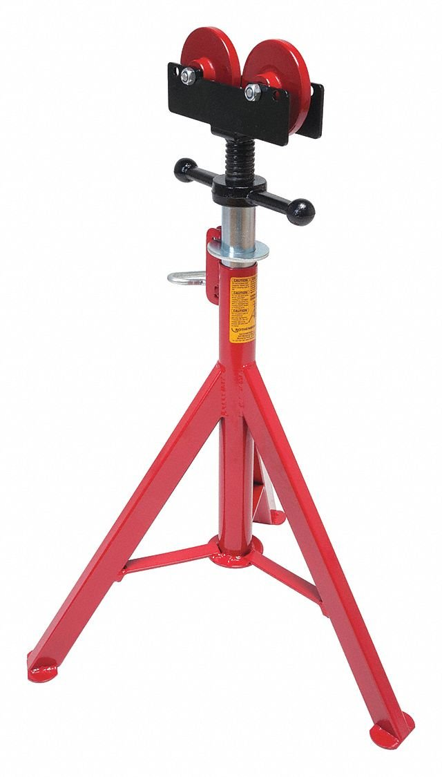 Pipe Stand with Roller Head, 1/2'' to 16'' Pipe Capacity, 27'' to 50'' Overall Height, 2,500 lb. Load Ca