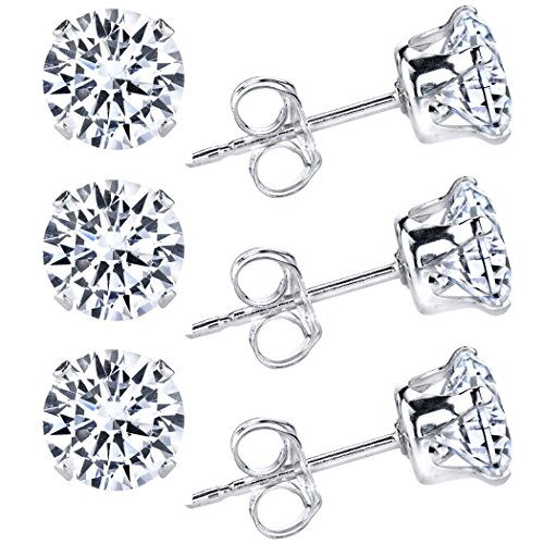 Sterling Silver 2mm Round CZ Stud Earrings, Pack of - Ribbon Silver Earrings