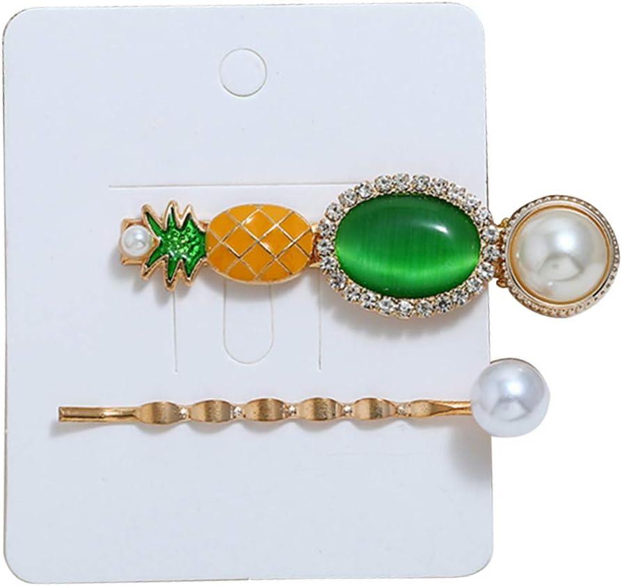 FeiyanfyQ Pinzas para el pelo, 2 piezas/juego de pinzas de pelo ovaladas de piña con piedras preciosas sintéticas, para interior y exterior, para mujeres y niñas