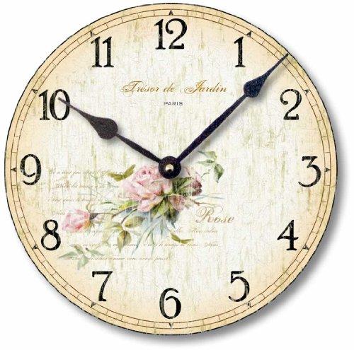 Fairy Freckles Studios Item C2001 Vintage Shabby Chic Style Roses Clock 12 Inch Diameter