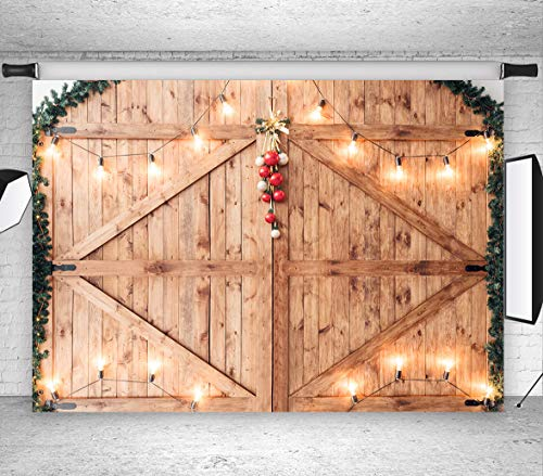 LB Rustic Barn Door Backdrops for Photography 9x6ft Polyester Fabric Wood Wall Photo Backdrops Customized Photo Background Studio Props,Seamless Washable -