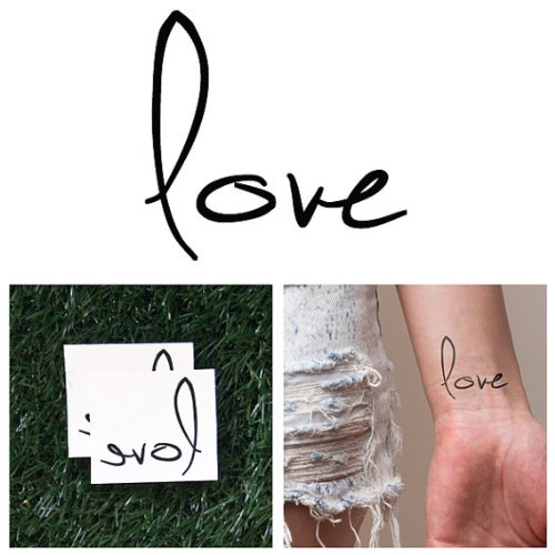 Tattify Love Quote Tattoo - Mighty (Set of 2) - Other Styles Available - Premium Quality and Fashionable Temporary Tattoos - Long Lasting and Waterproof... -