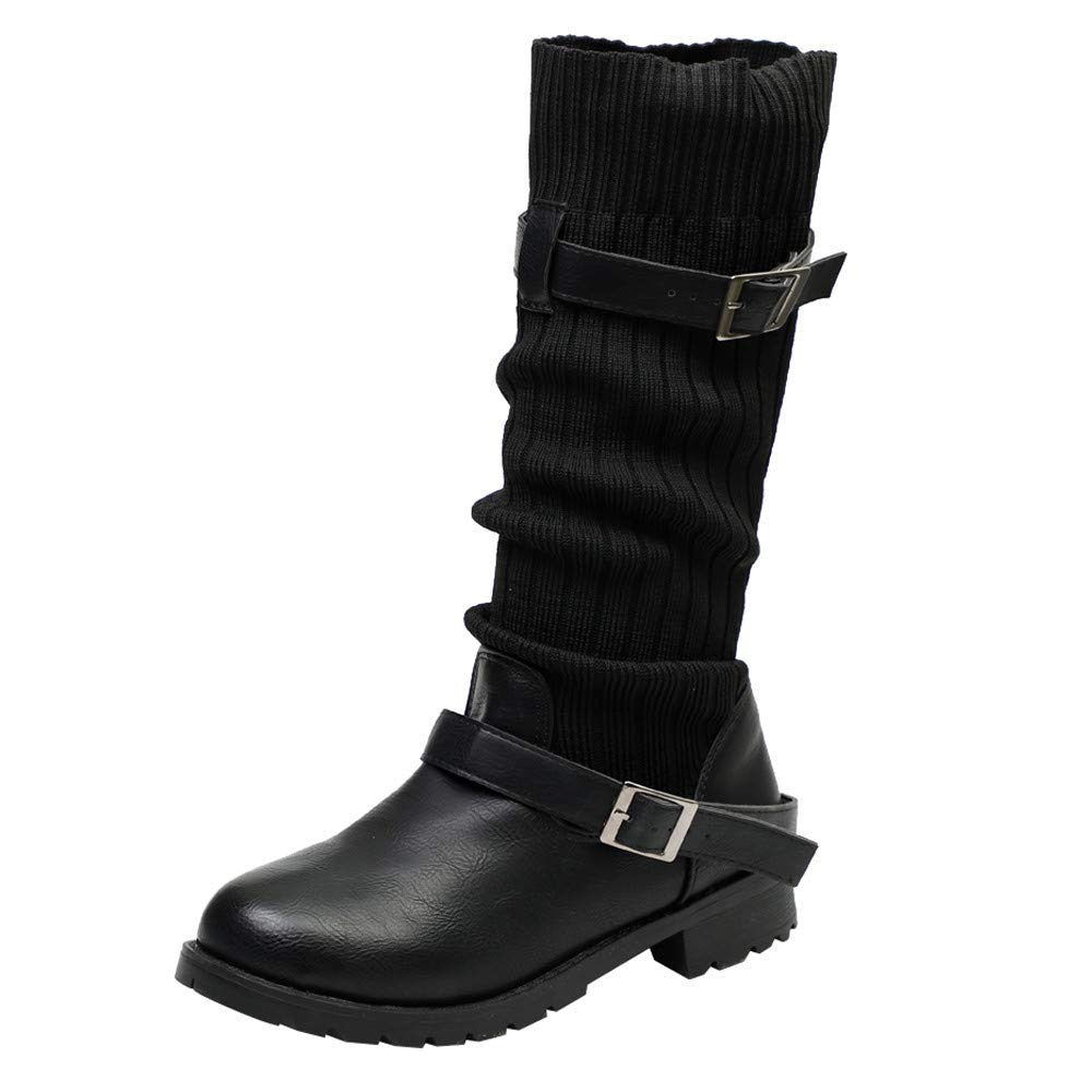 Dacawin Vintage Women Leather Martin Boots Winter Keep Warm Buckle Strap Round Toe Mid Tube Boots (Black, Tag Size 35=US:5.5)