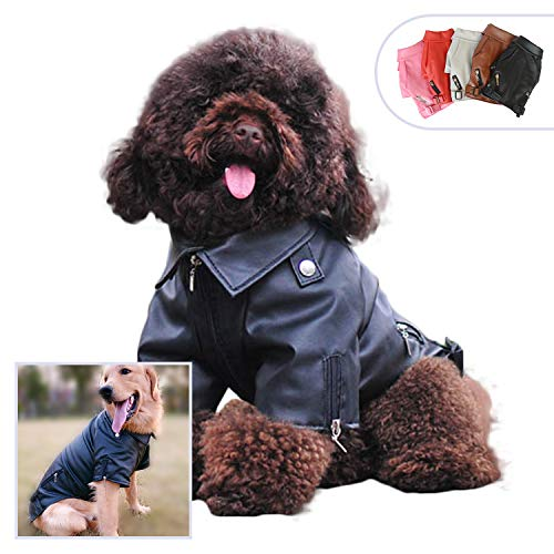 (Lovelonglong Cool Dog Leather Jacket, Warm Coats Dogs Windproof Cold Weather Coats for Large Medium Small Dogs, Black Color Yorkshire Terrier Clothing)
