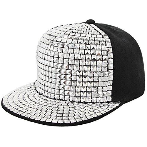Surkat Unisex Fashion Rivets Flat Baseball Cap Snapback Adjustable Baseball Hat Hip Pop Dance Cap(Silver) ()