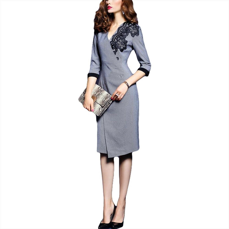 Gestricktes Baumwoll-gesticktes Kleid Mode-Unregelmäßiges Kleid - Grau