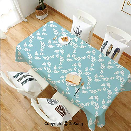 Rustic Rectangle Polyester Tablecloth,Rural Meadow Field Yard Wildflowers Farmhouse Style Cottage Countryside Garden,Dining Room Kitchen Rectangle Table Cover,70W X 102L inches,Light Blue White