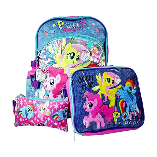 My Little Pony Backpack Lunch Bag Pencil Pouch Water Bottle Clip 5 Piece Set