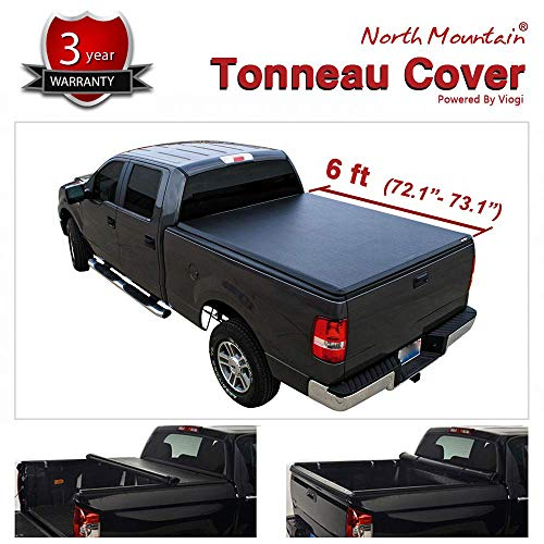 Riseking 6ft /72.1-73.1 inches Bed Fleetside Truck Bed fit 1982-1993 Chevy S10/GMC S15/Sonoma Pickup 1pc Black Vinyl Clamp-on Truck Bed Soft Lock & Roll-up top Mount Tonneau Cover Assembly with Rails ()