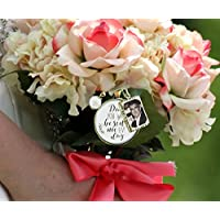 Bridal Bouquet Photo Charm Dad You Walk Beside Me Every Day White Wedding Pendant Father Memorial Remembrance Photo Jewelry