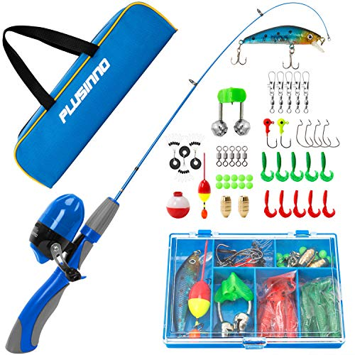 (PLUSINNO Kids Fishing Pole,Portable Telescopic Fishing Rod and Reel Full Kits, Spincast Fishing Pole for Kids, Boy, Youth (Blue Handle with Bag, 120CM)