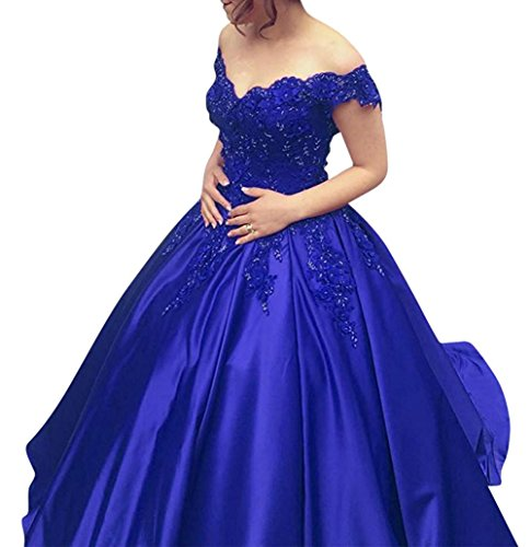 Lace Prom Dresses Tulle Long Puffy Quinceanera Dresses Ball Gown AN035 (Shoulder Taffeta Ball Gown)