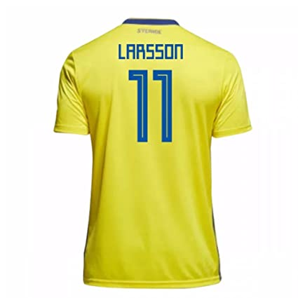 ca9e7c48e Image Unavailable. Image not available for. Color  2018-19 Sweden Home  Football Soccer T-Shirt Jersey (Henrik Larsson 11)