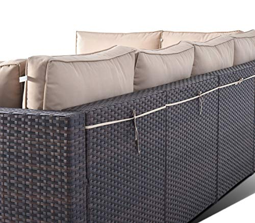 Gotland Outdoor Patio Furniture Set 7 Pieces Sectional Rattan Sofa Set Manual Wicker Patio Conversation Set with A Tempered Class Table and 6 Seat Cushions -  - patio-furniture, patio, conversation-sets - 51nnghvEQgL -