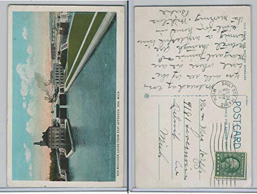 Postcard, Michigan, Soo Locks From East Approach, 1924 Sault Ste Marie