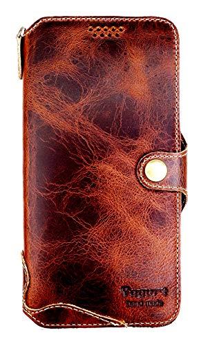 Yogurt for Samsung Galaxy S9 Plus+ (6.2 Inch) Genuine Leather Wallet Cases Cover Handmade Dark Brown
