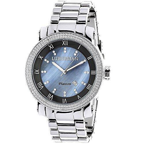 (Mens Diamond Watch 0.12ctw of Diamonds by Luxurman Blue MOP)