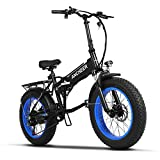 Image of Ancheer Folding Electric Bike with 20 Inch Fat Tire, 48V SAMSUNG Battery, Premium Full Suspension and Shimano Gear (blue)