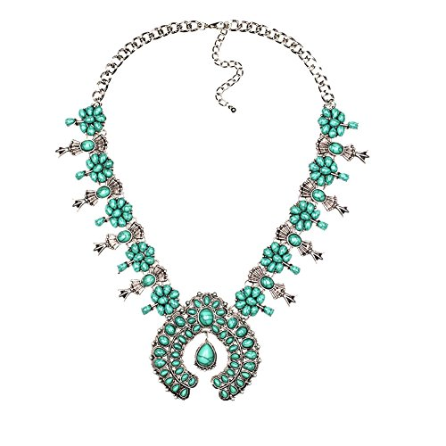 Lovage Bohemian Exaggerate Turquoise Flower Pendant Necklace Women Jewelry ()