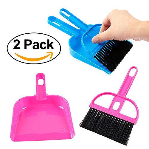 LOHOME Mini Cleaning Broom Brush and Dustpan - Set of 2 Include 2 x Broom Brush + 2 x Dustpan Desktop Sweep Cleaning Brush Dustpan Set Color Random (Blue+Pink)
