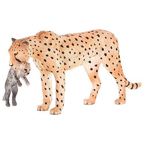 Mojo Fun 387167 Female Cheetah with Cub - Realistic International Wildlife Toy Replica - NEW for 2014! by Mojo Fun - Wildlife