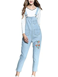 6d1e7b79aee2 Sobrisah Women s Casual Baggy Loose Fit Denim Bib Cropped Harem Romper  Jumpsuit Pants Overalls Trousers with