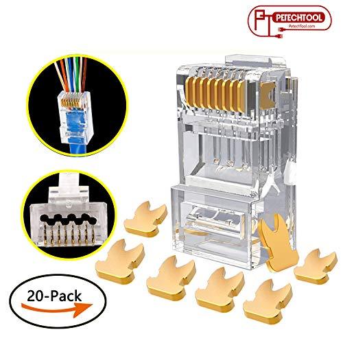 RJ45 Cat6a Cat6 Large Connector Gold Plated 8P8C Pass Through End for 23AWG(20Packs)
