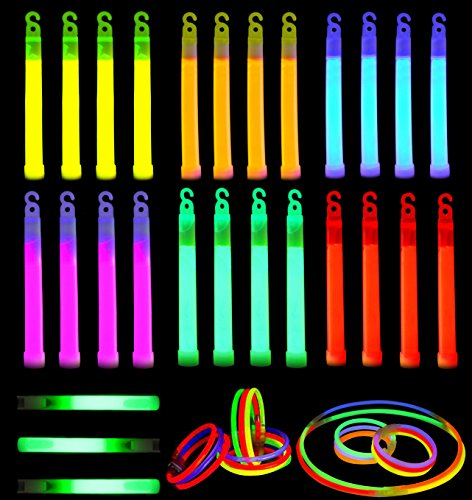 Glow Sticks, 52 Pieces Including 28 6' Long 0.6' Extra Thick Premium Industrial Grade Glow Sticks (3 in Whistle Shape) and 24 8' Long Multicolor Glow Stick Bracelets. by Joyin Toy