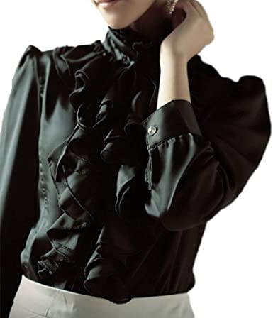 Size Women Long Sleeve Gothic Blouse T Shirt Tee Ruffled V Neck Lace Up Top 8-26