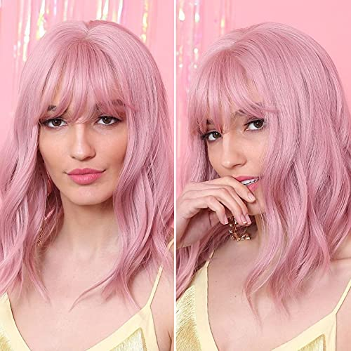 UHIBROS Pink Wigs For Women,Short Wig With Bangs Wavy Bob Wig Shoulder Length Synthetic Cosplay Wig For Girl Party Colored Wigs (14 Inch,Purple Pink)
