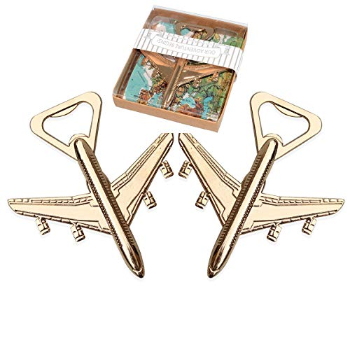 WeddPtyFr 48Pcs Party Favor for Guests Let the Adventure Begin Antique Airplane Beer Bottle Opener for Wedding Souvenirs Birthday Bridal Shower Anniversary Decoration Gift (Airplane - Souvenir Beer