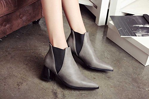 ... Chfso Kvinners Stilig Solid Spiss Tå Elastisk Midten Chunky Hæl Ankel  Boots Grå