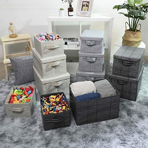 51nniUj erL. AC - VENO Foldable Storage Bin With Lid, Sturdy Storage Box, Closet Organizer, Nursery Hamper, Collapsible Basket With Handle For Home, Bedroom, Playing Room, Office, Living Room (3-Pack, Jumbo, BLK/Win)