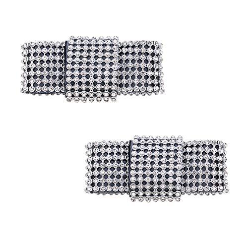 Douqu 2 Pcs Sparkling Rhinestone Crystal Removable Wedding Bridal Black Satin Bow Shoe Clips
