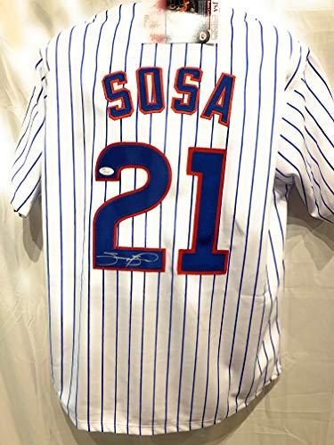 Pinstripe Mlb Jersey - Sammy Sosa Chicago Cubs Signed Autograph MLB Custom Pinstripe Jersey JSA Witnessed Certified