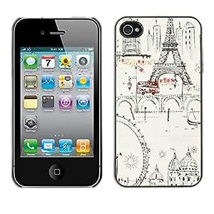 X-ray Impreso colorido protector duro espalda Funda piel de Shell para Apple iPhone 4 / iPhone 4S / 4S - Ferris Wheel Eifel Tower Paris Europe Ink