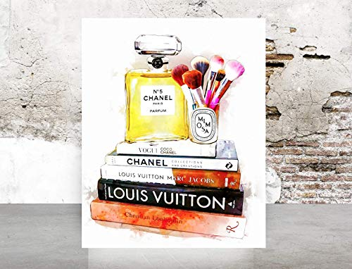 (Fashion Wall Art  Poster Print - Perfume Books Makeup - Printed on Fine Art Paper- 1053)