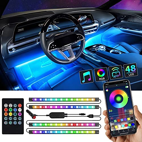 Interior Car Lights, Ropelux Car Led Lights 4pcs , Led Light Strips for Cars with App and Remote Control, Music Sync, Upgrade 2-In-1 Design, Waterproof Under Dash Lighting Kit with Car Charger, Dc 12v