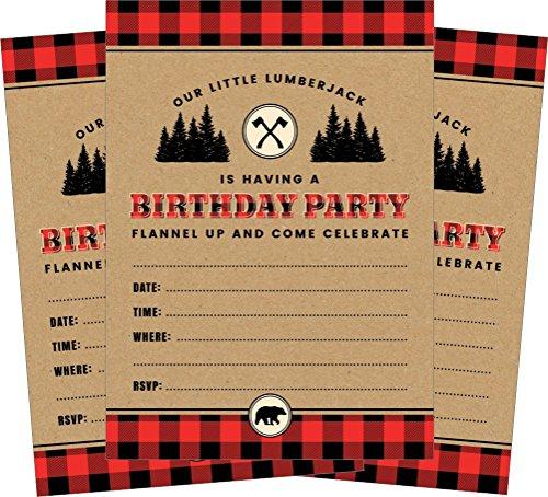 24 Lumberjack Bear 5x7 Birthday Party Invitations and 24 White Envelopes ()
