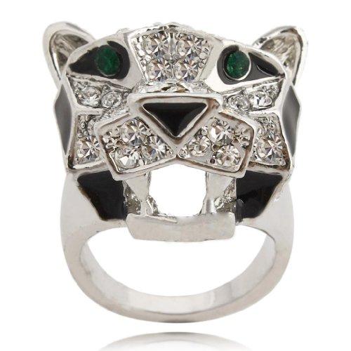EVER FAITH Teardrop Leopard Clear Austrian Crystal Ring Silver-Tone - Size 10 by EVER FAITH